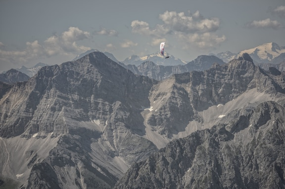 Paul Guschlbauer (AUT1) flies during the Red Bull X-Alps at the Karwendel massiv, Austria on July 6, 2017.
