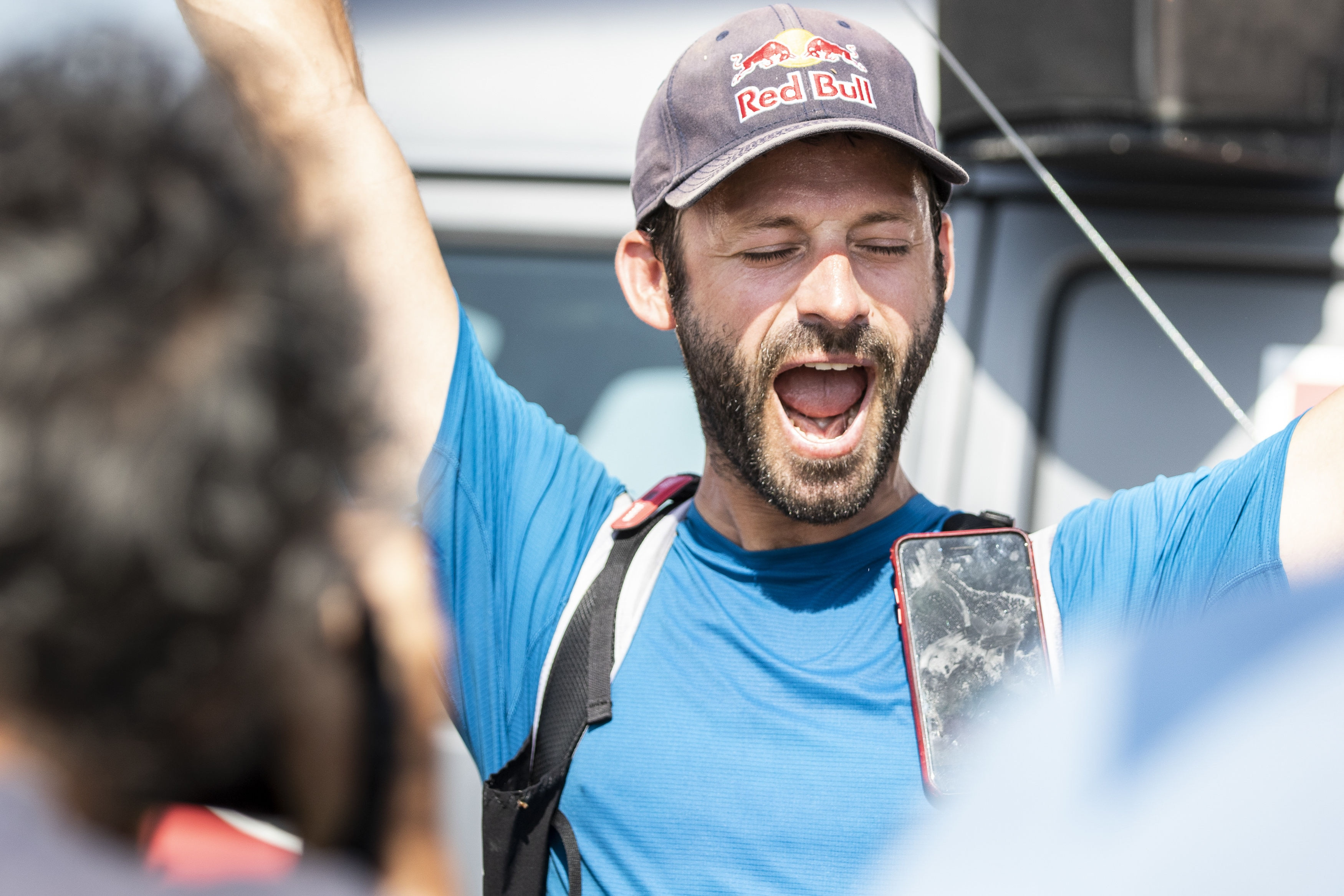 Tom De Dorlodot (BEL) celebrates during the Red Bull X-Alps in Peille, France on June 27, 2019