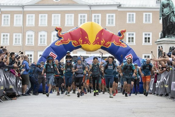 Athletes perform during the Red Bull X-Alps Start in Salzburg, Austria on June 16, 2019