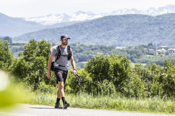 Tom De Dorlodot (BEL) hikes during the Red Bull X-Alps in St. Hilaire , France on June 24, 2019. © Honza Zak / zooom