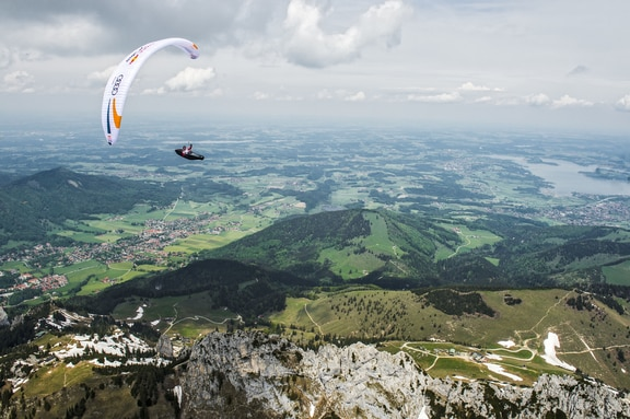 Participant flies during the Red Bull X-Alps preparations in Aschau, Germany on may 25, 2019