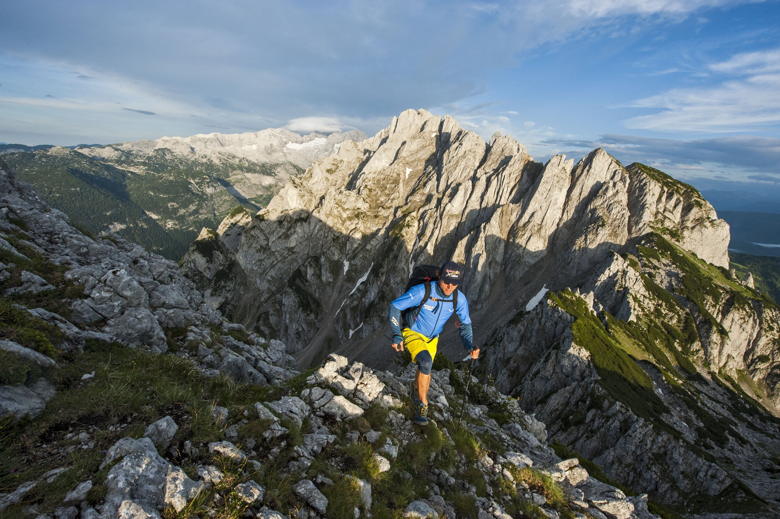 Participant hikes during the Red Bull X-Alps preparations in Gosau, Austria on June 27th 2017