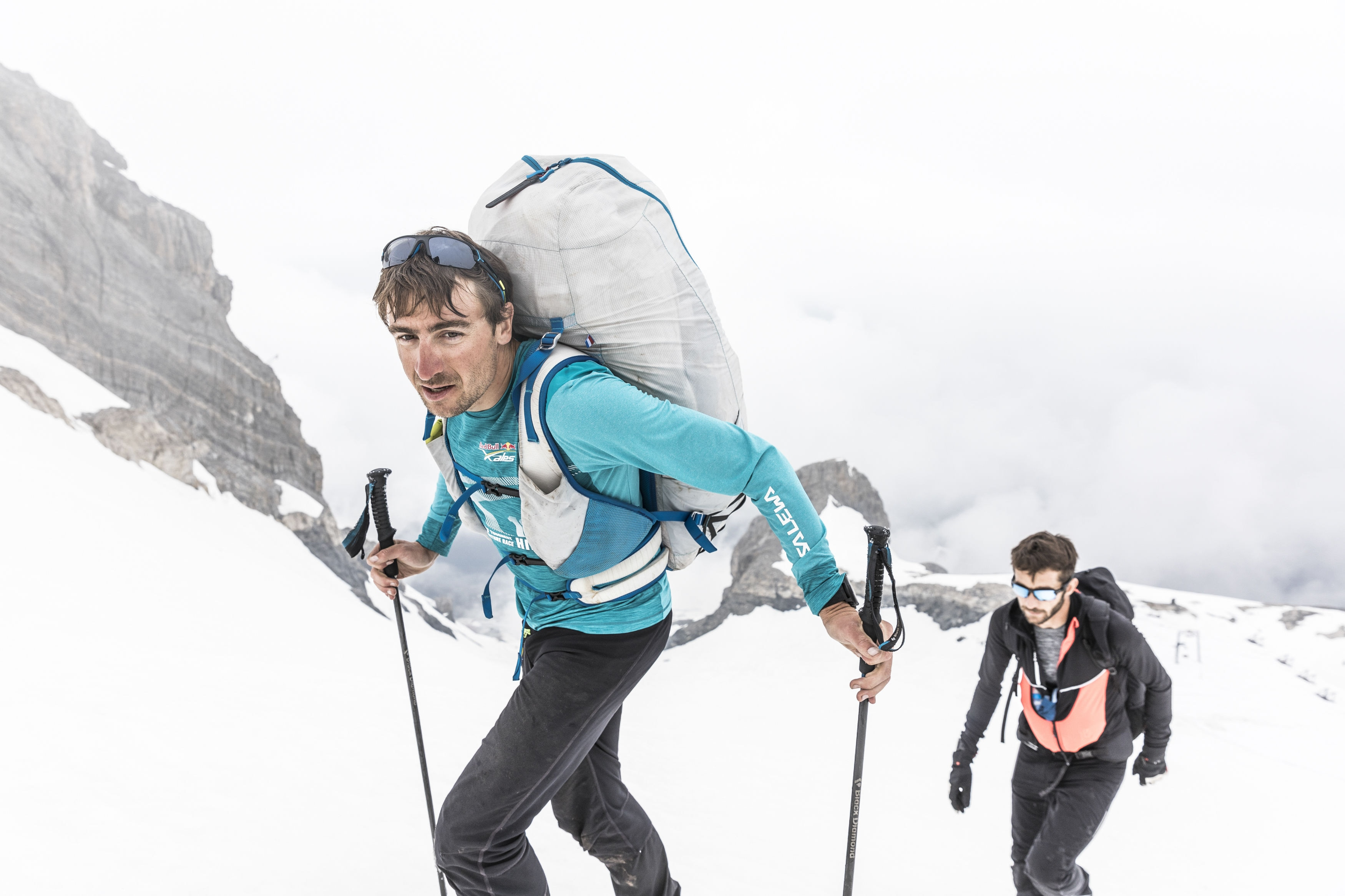 Maxime Pinot (FRA4) hikes during the Red Bull X-Alps at Turnpoint 7, Titlis, Switzerland on June 20, 2019