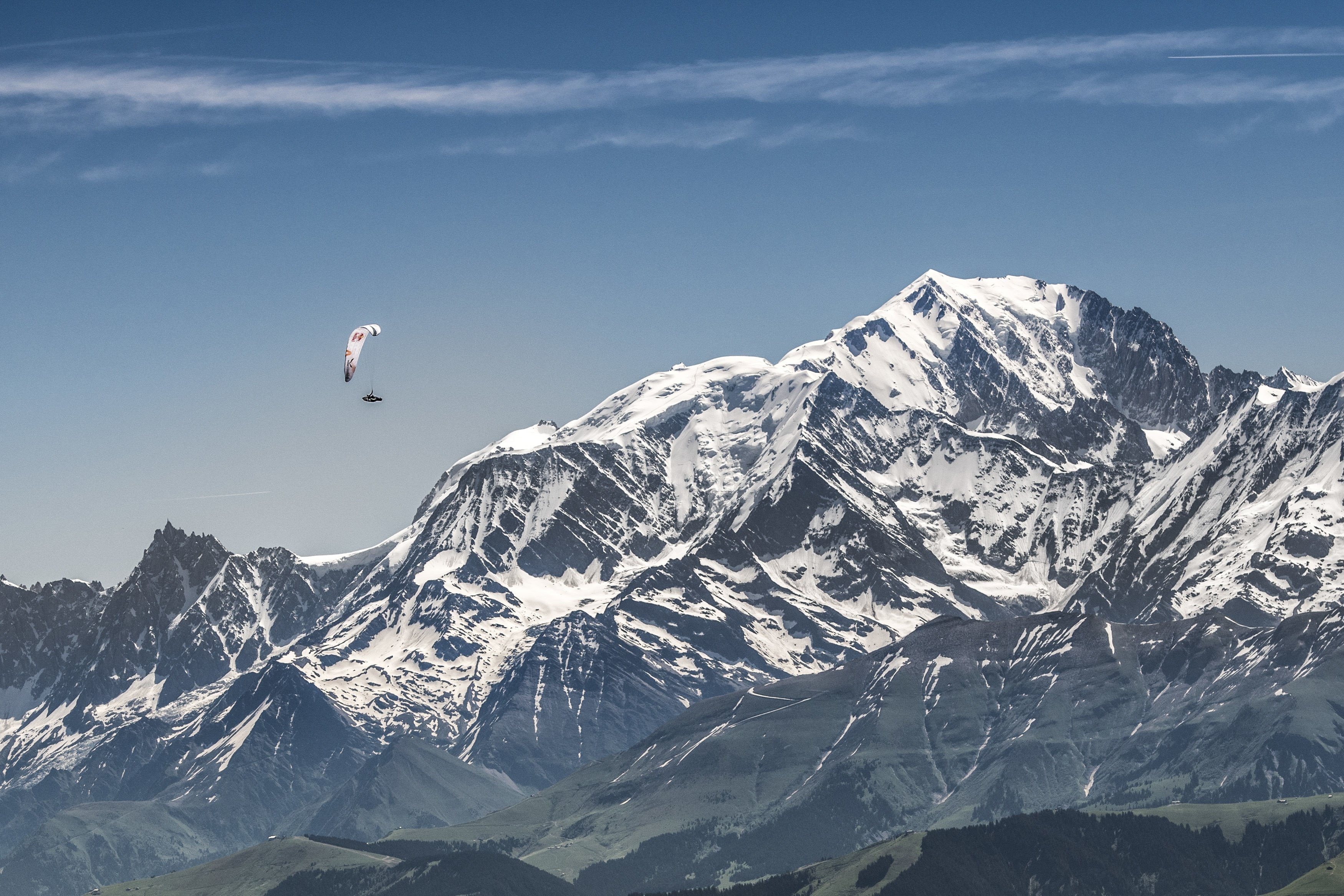 Paul Guschlbauer (AUT1) races during the Red Bull X-Alps next to Mont Blanc, France on June 23, 2019.