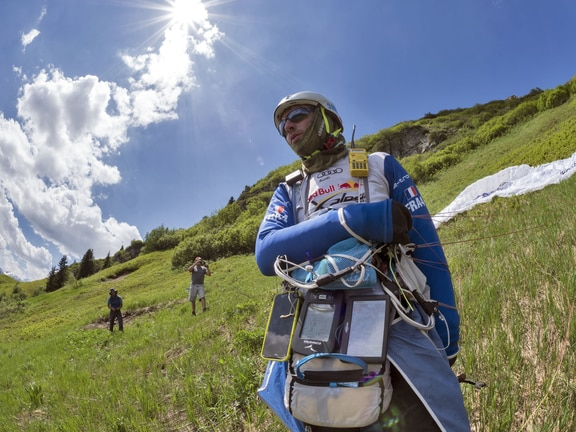 Maxime Pinot (FRA4) seen during the Red Bull X-Alps in Davos, Switzerland on June 19, 2019