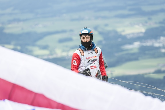 Chikyong Ha (KOR) performs during the Red Bull X-Alps on Gaisberg, Austria on July 16, 2019