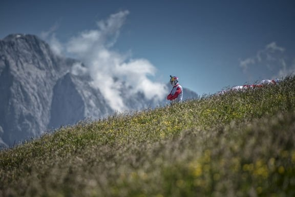 Aaron Durogati (ITA1) is seen during the Red Bull X-Alps at Maria Alm, Austria on July 5, 2017.