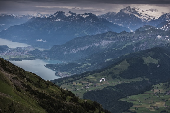 Maxime Pinot (FRA4) races during the Red Bull X-Alps above Spiez, Switzerland on June 21, 2019.
