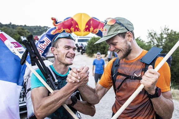 Paul Guschlbauer (AUT1) and Benoit Outters (FRA1) celebrate during the Red Bull X-Alps in Peille, France on June 26, 2019