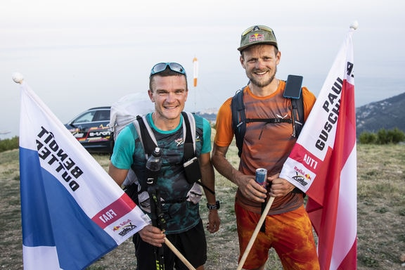 Paul Guschlbauer (AUT1) and Benoit Outters (FRA1) pose for a portrait during the Red Bull X-Alps in Peille, France on June 26, 2019