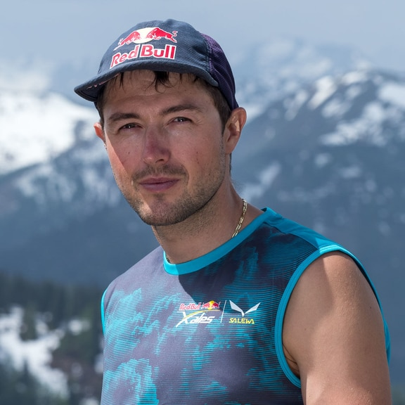 Aaron Durogati (ITA1) poses for portrait during the Red Bull X-Alps preparations in Wagrain, Austria on June 12, 2019