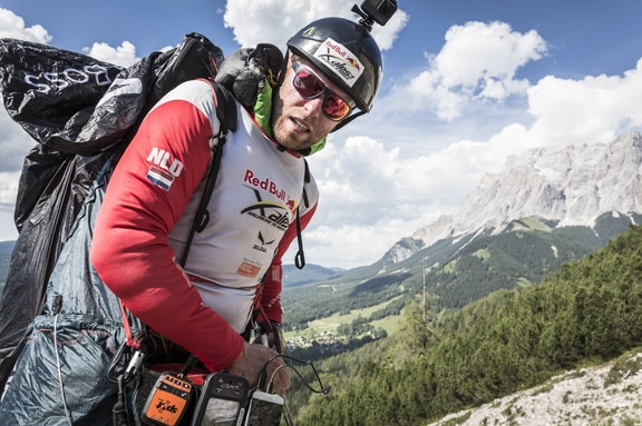 Ferdinand van Schelven (NED) performs during the Red Bull X-Alps in Lermoos, Austria on July 6th, 2017