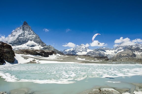Participant flies during the Red Bull X-Alps preparations in Zermatt, Switzerland on June 19, 2017