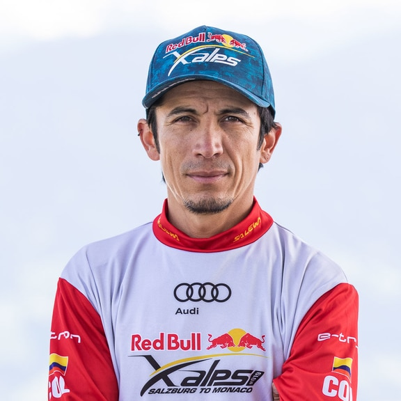 Alex Villa (COL) poses for a portrait during the Red Bull X-Alps preparations in Wagrain, Austria on June 9, 2019