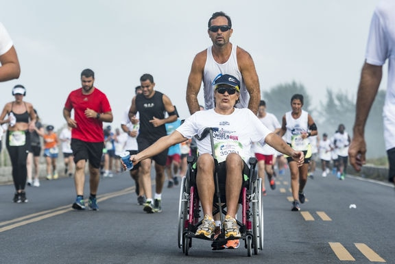 Participants perform during the Wings for Life World Run in Rio de Janeiro, Brazil on May 6, 2018. // Marcelo Maragni for Wings for Life World Run // SI201805060826 // Usage for editorial use only //