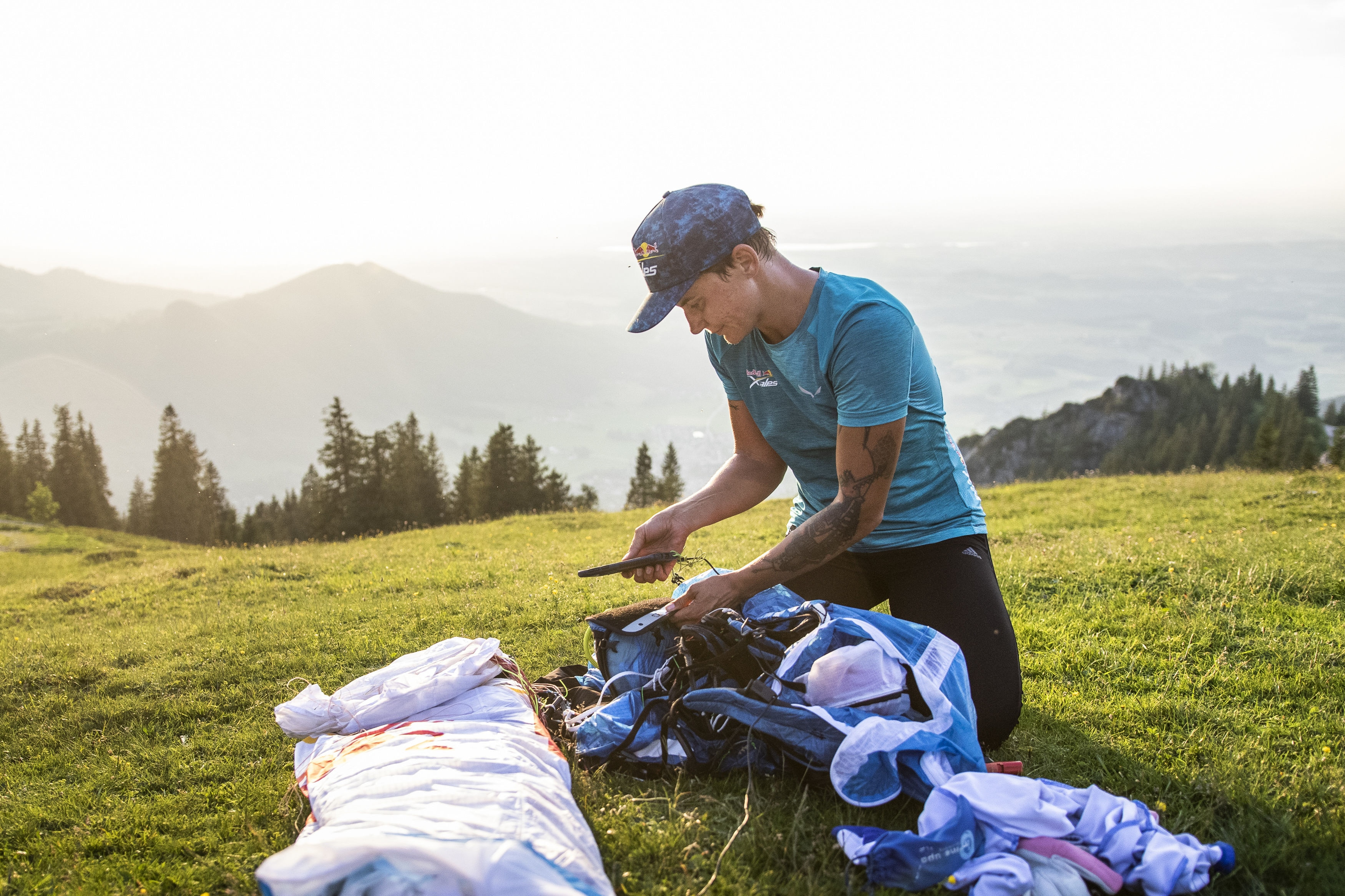 Kinga Masztalerz (NZL2) prepares during the Red Bull X-Alps in Aschau im Chiemgau, Germany on June 17, 2019