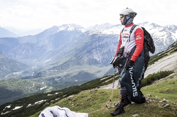 Simon Oberrauner (AUT2) prepares during the Red Bull X-Alps in Grubigstein, Austria on June 19, 2019