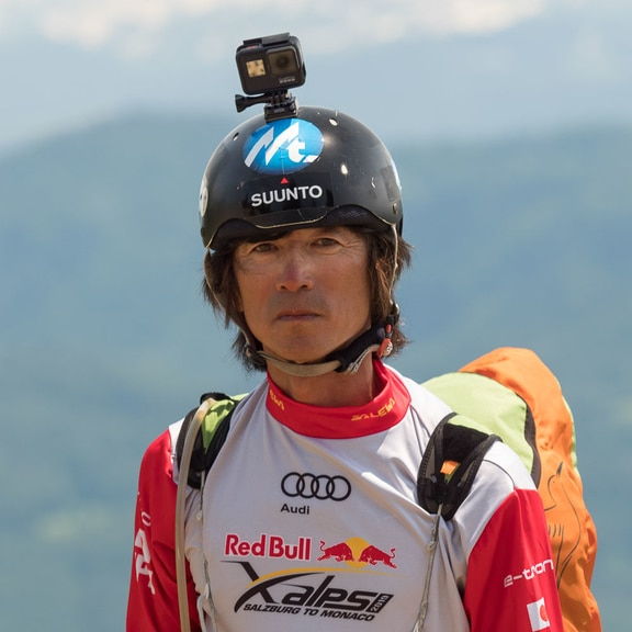 Kaoru Ogisawa (JPN) poses for portrait during the Red Bull X-Alps preparations in Aschau im Chiemgau, Austria on June 4, 2019