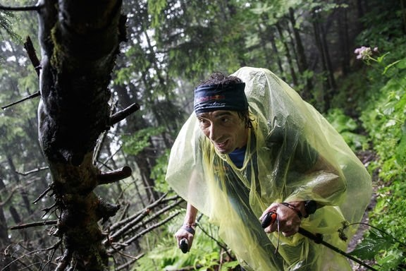 Toma Coconea (ROU) hikes during the Red Bull X-Alps in Salzburg, Austria on July 2, 2017