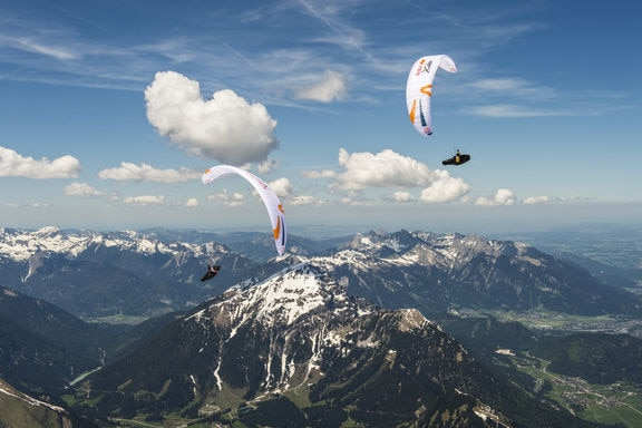 Participant flies during the Red Bull X-Alps preparations in Lermoos, Austria on june 02, 2019