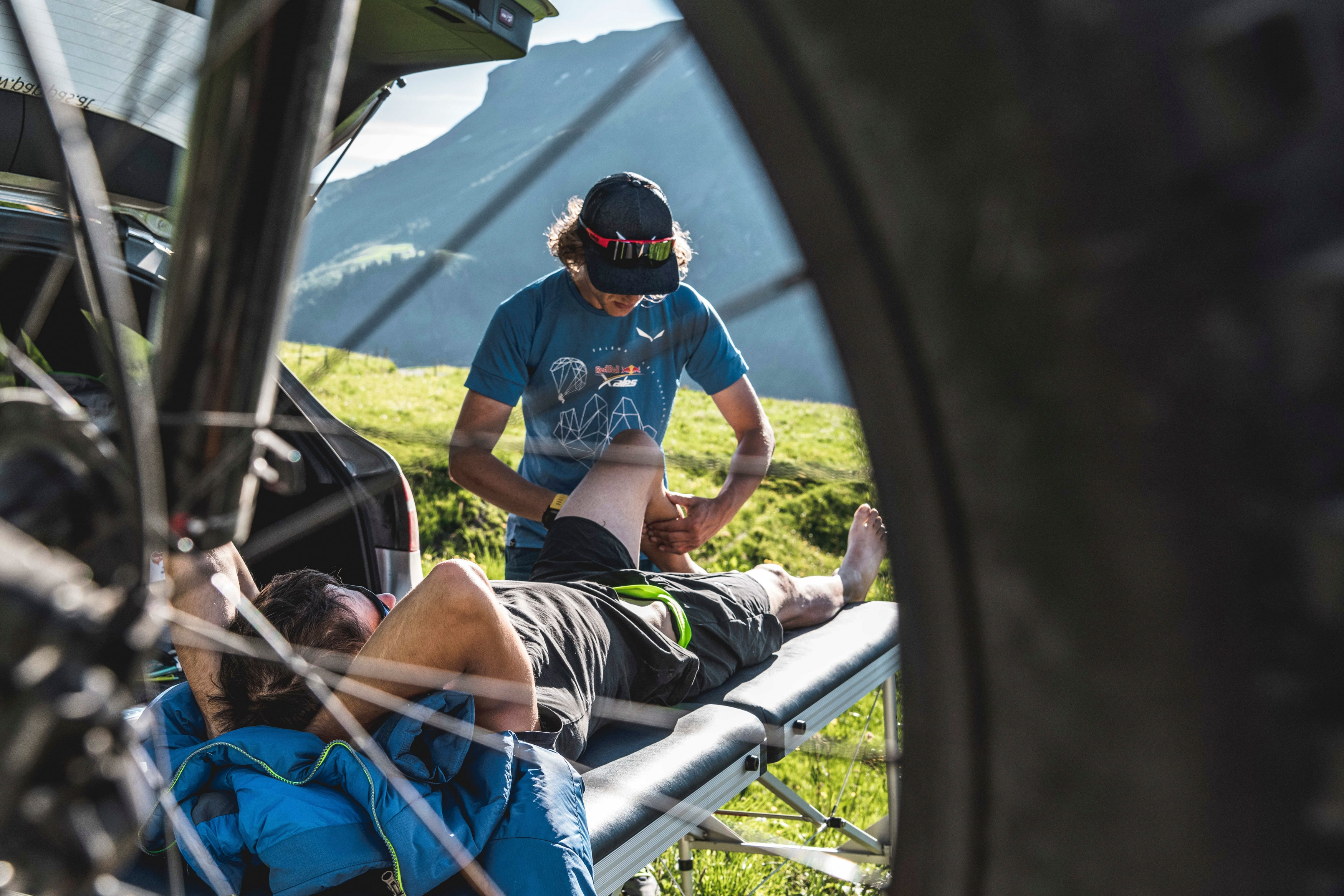Aaron Durogati (ITA1) is getting last checks before the start of the Red Bull X-Alps in Flumet, France on June 24, 2019